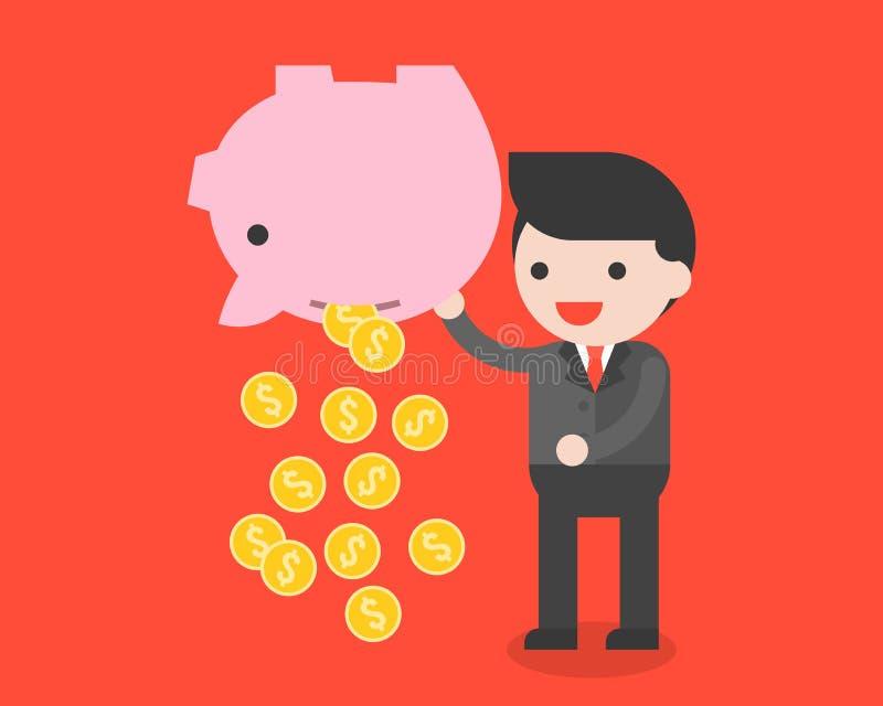 Biznesmena przewożenia prosiątka bank i złociste monety, oszczędzanie pieniądze przeciw ilustracji
