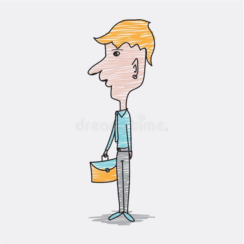 Biznesmena przewożenie zdojest postać z kreskówki wektor, ręka rysujący styl, doodle projekta ilustracje, śliczny mężczyzna, muśn ilustracji