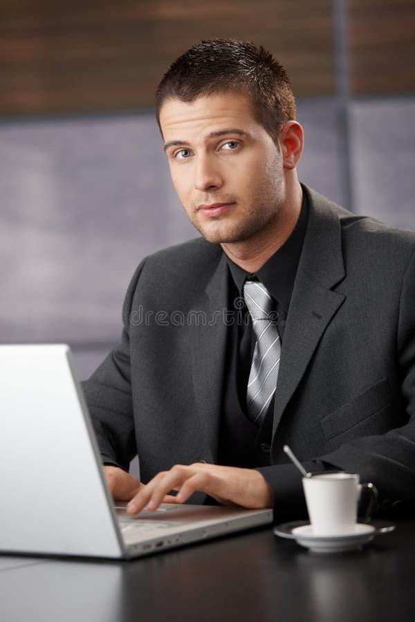 biznesmena przystojny laptopu działanie zdjęcia stock