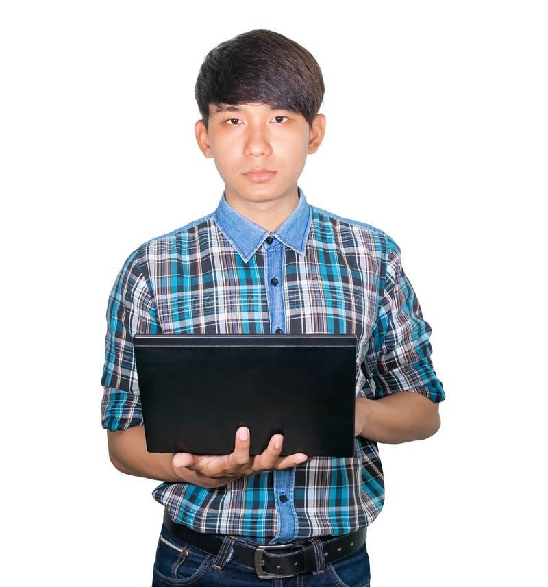 Biznesmena przystojny młody używa laptop na białym tle fotografia stock