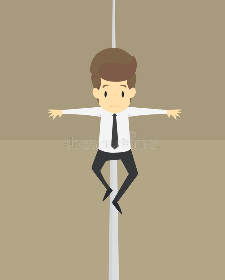 Biznesmena równoważenie na słowa ryzyku nad urwiskiem ilustracji