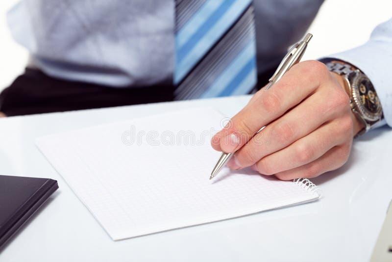 biznesmena ręki pióro s zdjęcia stock
