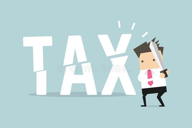 Biznesmena r?ni?ty podatek z kordzikiem Biznesowy poj?cie zmniejsza? podatki i obni?a? ilustracja wektor