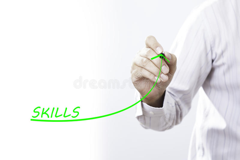Biznesmena remisu dorośnięcia linia symbolizuje narastające umiejętności zdjęcie stock