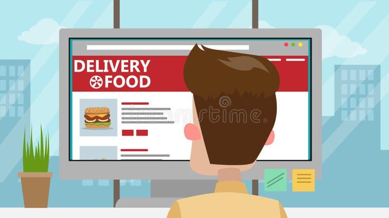 Biznesmena rozkazuje jedzenie royalty ilustracja