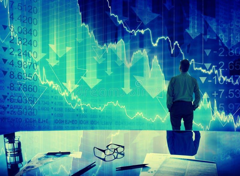 Biznesmena rynku papierów wartościowych kryzysu trzaska finanse pojęcie obrazy royalty free
