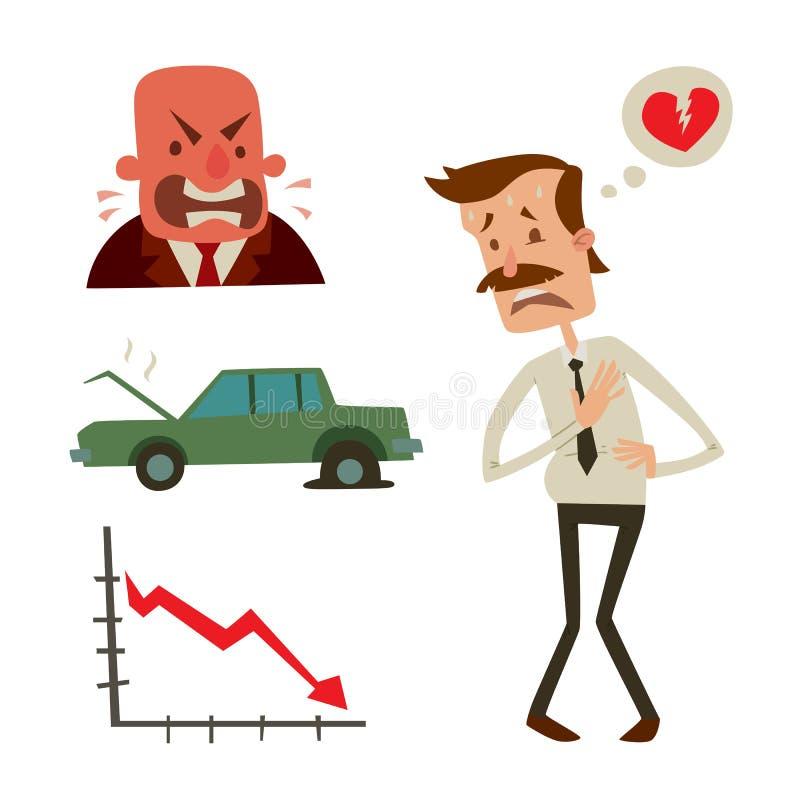 Biznesmena ryzyka mężczyzna ataka serca stresu kierowego infarct wektorowy ilustracyjny dymienie pije alkohol szkodliwą depresję ilustracja wektor