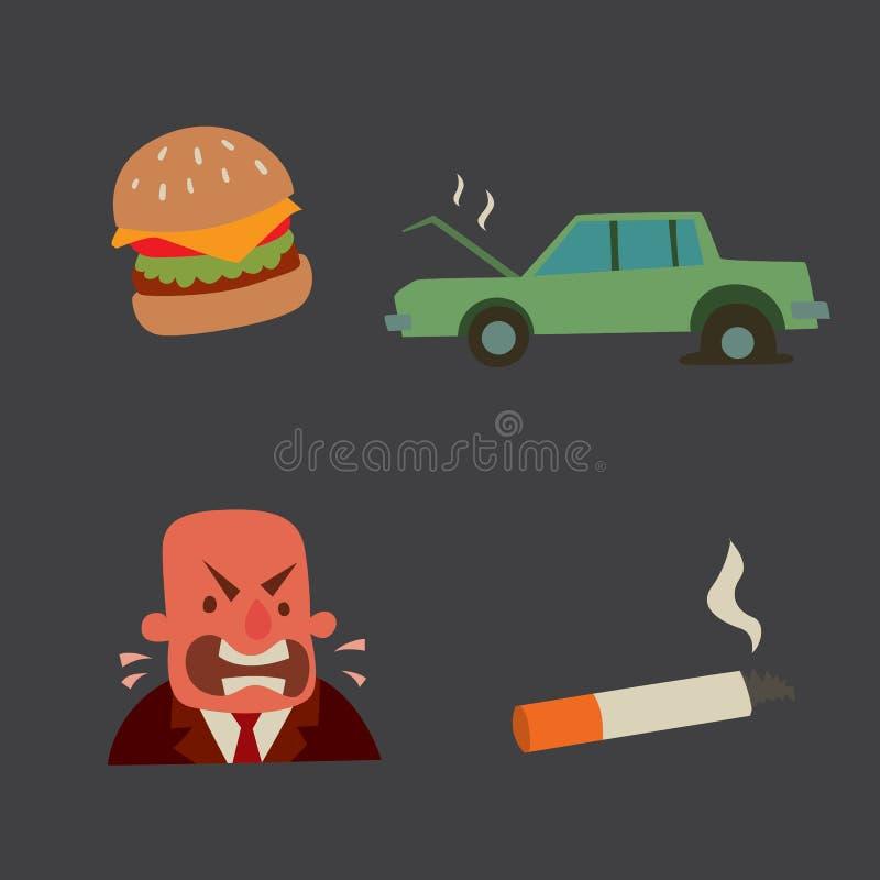 Biznesmena ryzyka mężczyzna ataka serca stresu kierowego infarct wektorowy ilustracyjny dymienie pije alkohol szkodliwą depresję royalty ilustracja