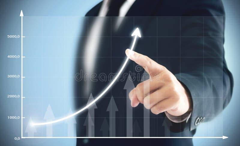 Biznesmena seansu biznesu przyrost na mapie, ręki dotyka wykres który reprezentuje zysków wzrosty dalej o wiele więcej zdjęcia stock