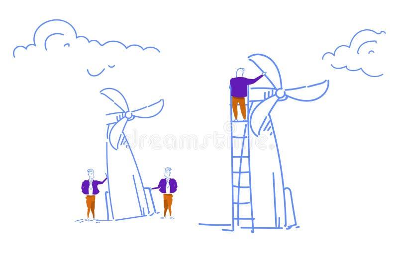 Biznesmena silnika wiatrowego wierza pokrętna energia przetwarza technologii pojęcia nakreślenia drużynowego pracującego doodle h ilustracja wektor