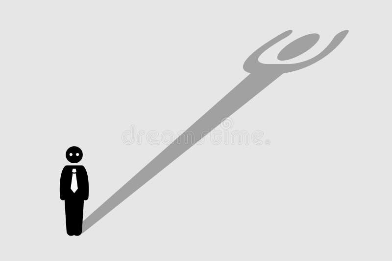 Biznesmena Silny Ufny cień ilustracji