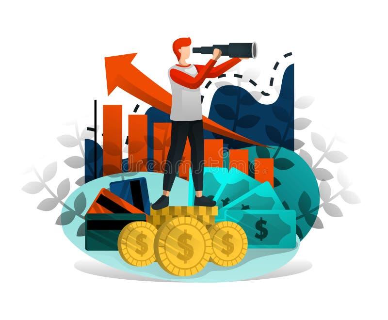 Biznesmena spojrzenie Z Obuocznym sposobność Robić Dużemu pieniądze i zyskowi Przyrostowy biznes, dochód & Dobry przedsiębiorca,  ilustracji