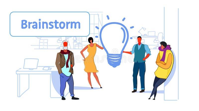 Biznesmena spotkania grupowego brainstorming procesu innowacji światła lampy drużynowej myślącej nowej kreatywnie ikony ludzie bi ilustracja wektor
