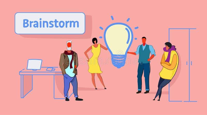 Biznesmena spotkania grupowego brainstorming procesu innowacji światła lampy drużynowej myślącej nowej kreatywnie ikony ludzie bi royalty ilustracja