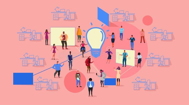 Biznesmena spotkania grupowego brainstorming procesu mieszanki rasy innowacji drużynowego myślącego nowego kreatywnie światła lud ilustracja wektor