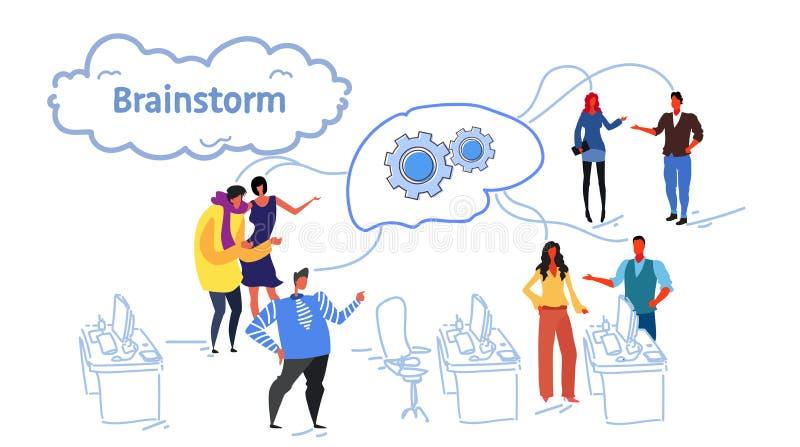 Biznesmena spotkania grupowego brainstorming procesu sieci cog koła móżdżkowej drużyny myśleć nowego projekt ludzie biznesu ilustracja wektor