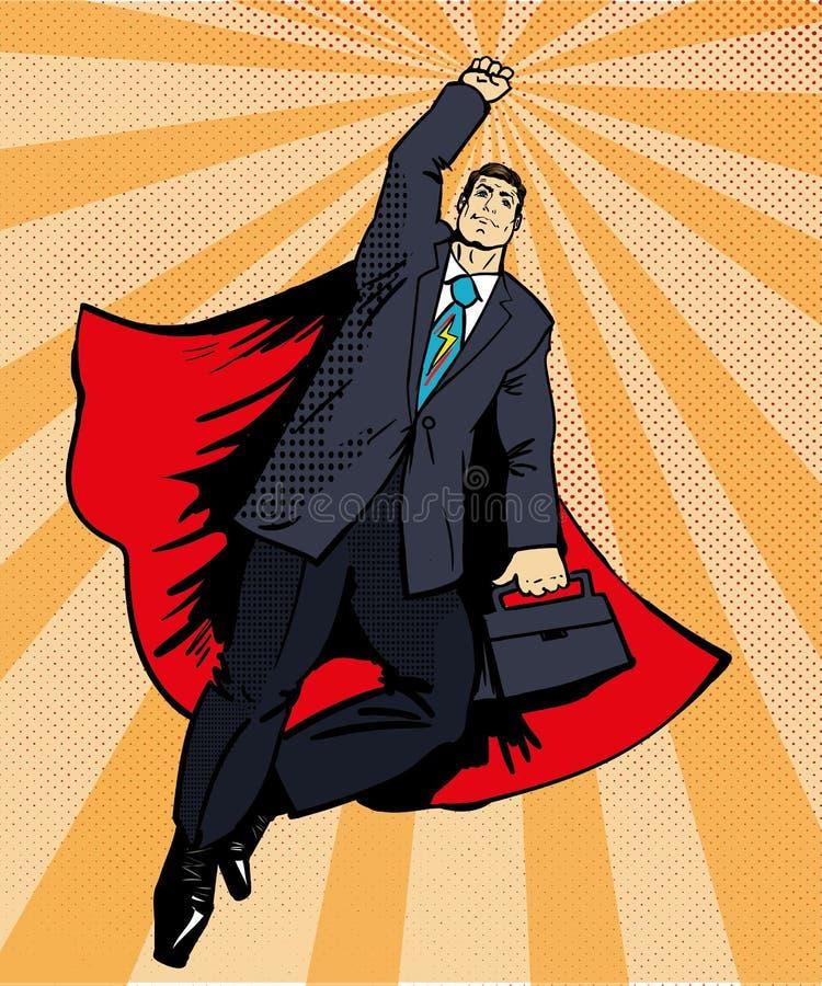 Biznesmena super bohatera latanie z teczką Wektorowa ilustracja w retro wystrzał sztuki stylu Biznesowego sukcesu komiczki pojęci ilustracja wektor