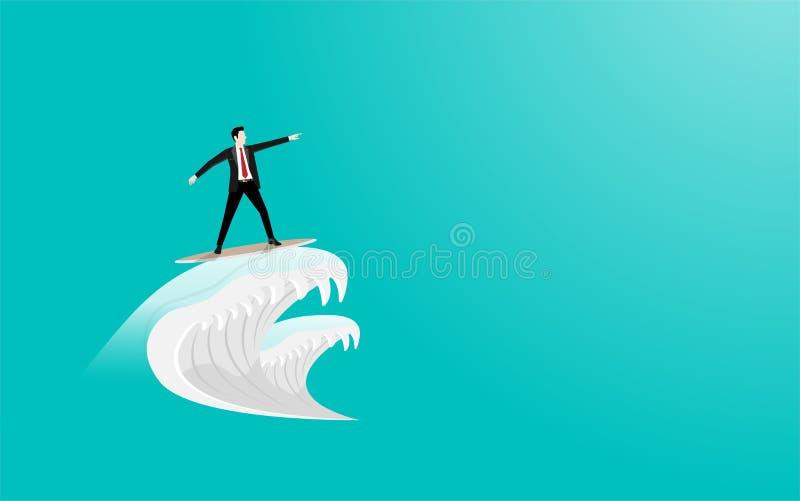 Biznesmena surfing na surfboard bramkowy sukces jak macha ilustracja wektor