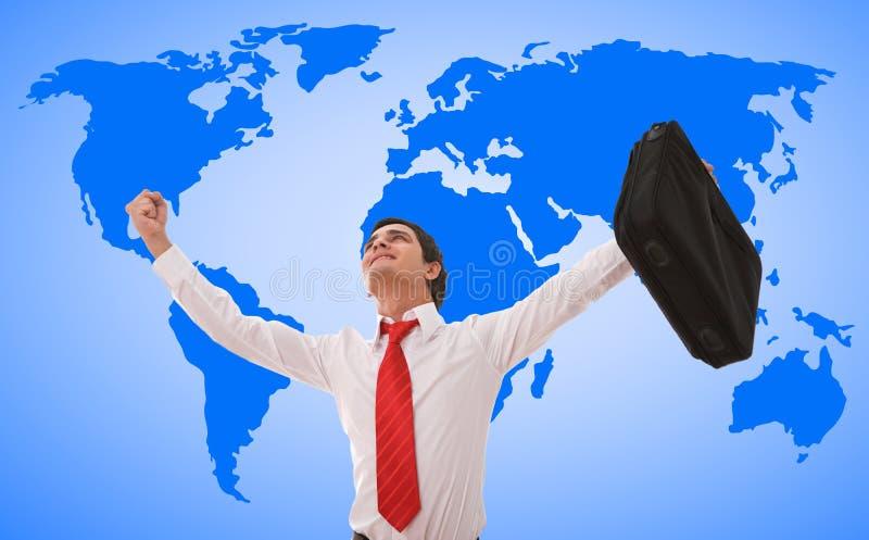 biznesmena szczęśliwy mapy świat zdjęcie stock