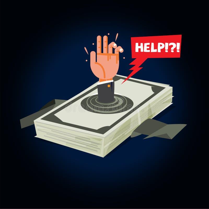 Biznesmena tonięcie w długu pieniądze pieniądze sterta z ręką b ilustracja wektor