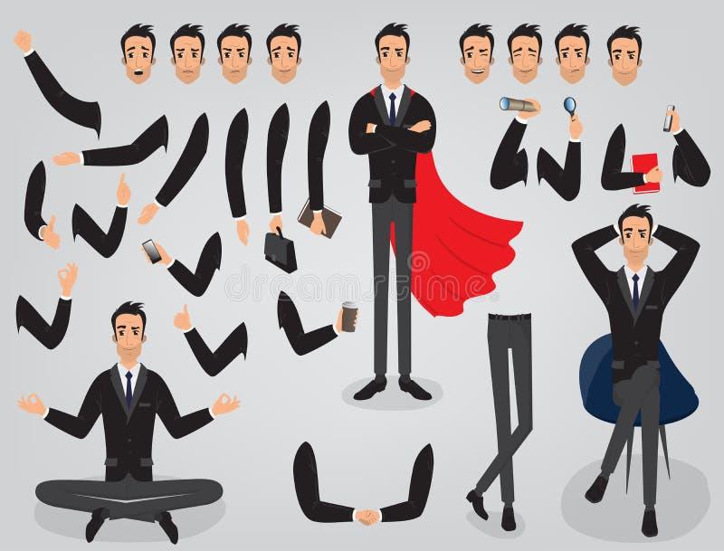 Biznesmena tworzenia ustalona budowa twój charakter royalty ilustracja
