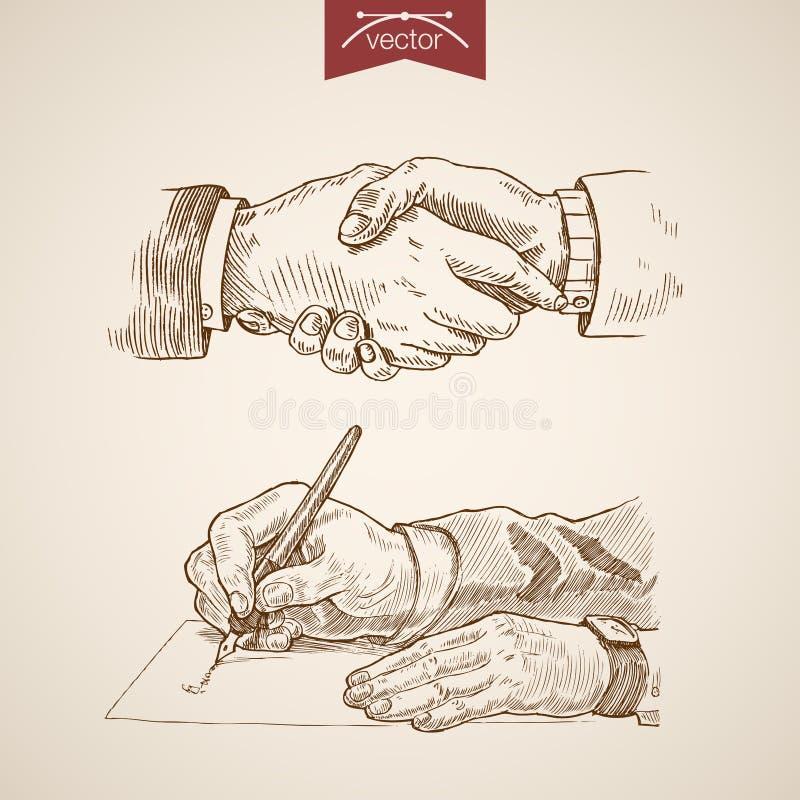 Biznesmena uścisku dłoni kontrakta transakci rytownictwa rocznik royalty ilustracja