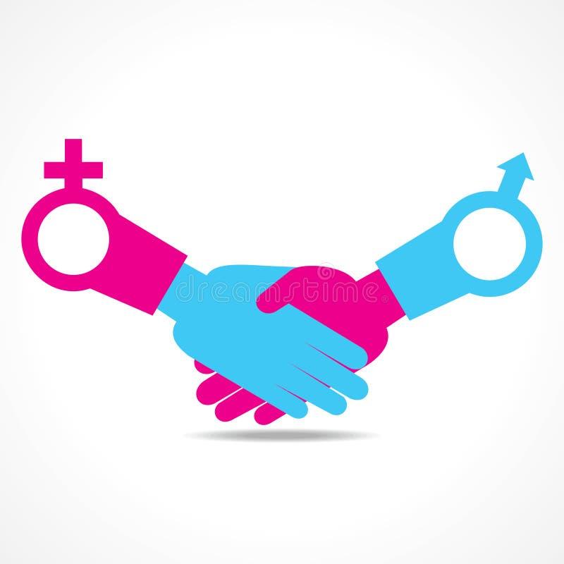 Biznesmena uścisku dłoni tło z samiec i fem ilustracji