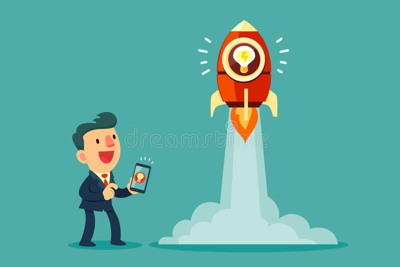 Biznesmena use mądrze telefon wszczynać jego pomysł rakietę ilustracji