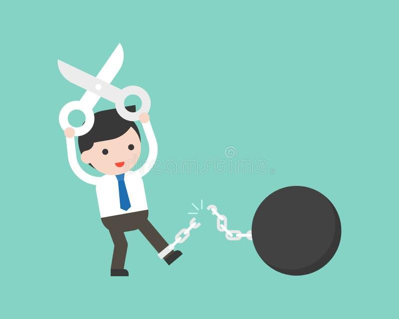 Biznesmena use rozcięcia nożycowy łańcuch od żelaznej piłki, wolność fr royalty ilustracja