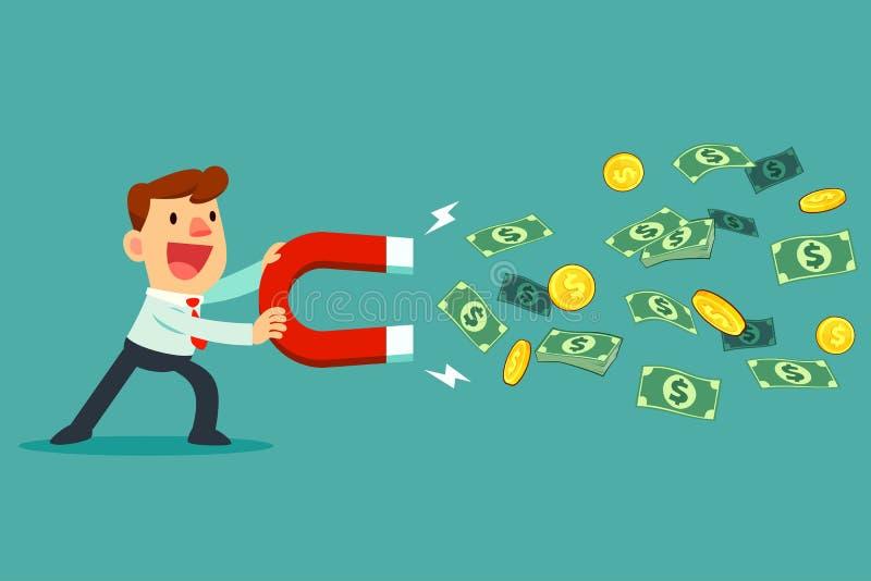 Biznesmena use wielki magnes przyciągać pieniądze ilustracja wektor
