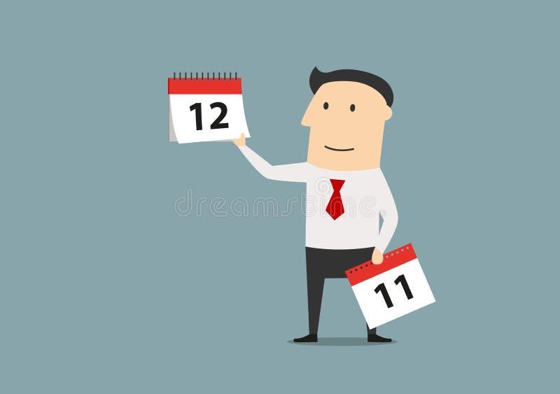 Biznesmena woth kalendarz ostatni miesiąc rok royalty ilustracja