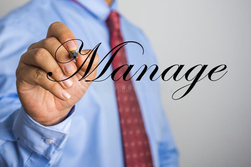 Biznesmena writing Kieruje słowo na wirtualnym ekranie fotografia stock