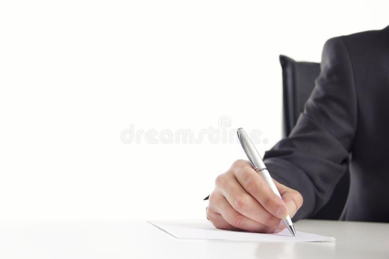 Biznesmena writing na papierze fotografia royalty free