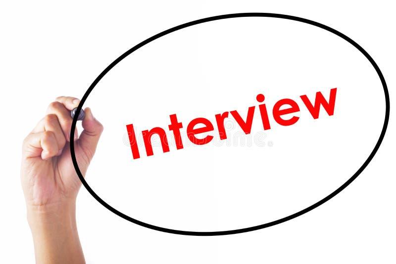 Biznesmena writing wywiadu słowo z piórem fotografia stock