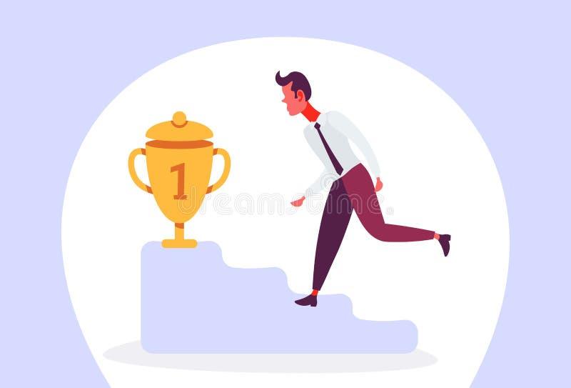 Biznesmena wspinaczkowy podium najpierw umieszcza trofeum zwycięzcy pojęcia złotej filiżanki długości postać z kreskówki odizolow ilustracja wektor