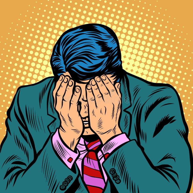 Biznesmena wstyd, twarzy palma royalty ilustracja