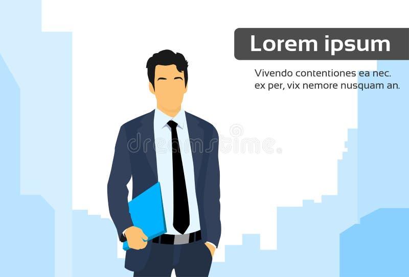 Biznesmena Wykonawczy Biznesowy mężczyzna nad miastem ilustracja wektor