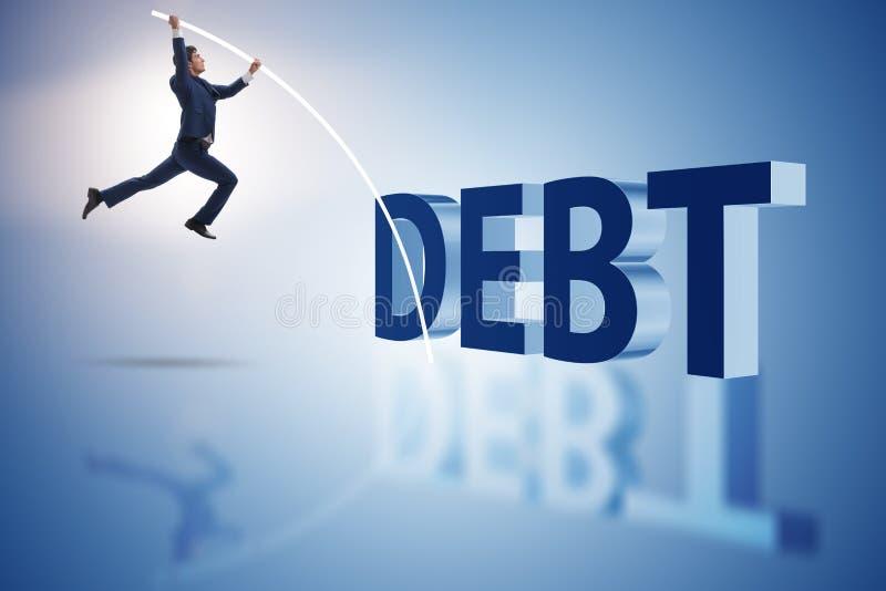 Biznesmena wystrzegania ciężar zadłużenia w biznesowym pojęciu obraz stock