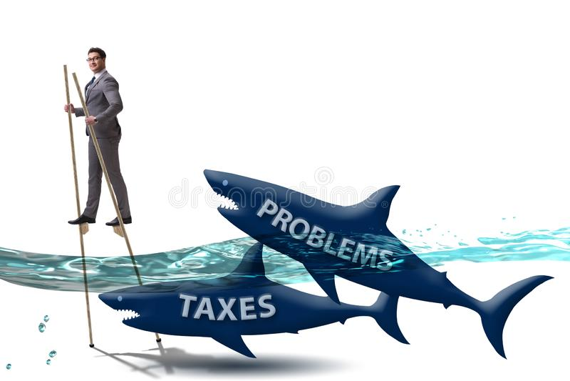 Biznesmena wystrzeganie p?aci wysokich podatki royalty ilustracja