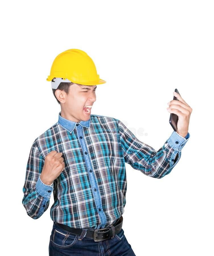 Biznesmena in?yniera rozmowy rozkaz z telefonem kom?rkowym z 5g sieci?, szybko?ciowy mobilny internet i odzie?y odzie?y ? zdjęcie stock