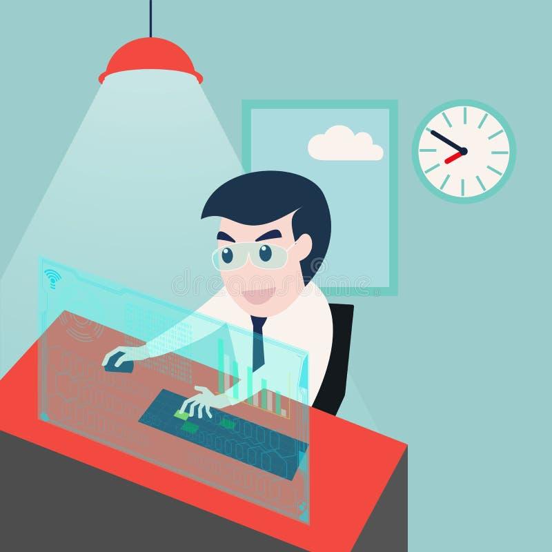 biznesmena zbliżenia komputer wręcza biurowego działanie royalty ilustracja