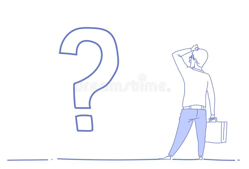 Biznesmena znak zapytania rozpamiętywa problemowego pojęcia kierunku strategii nakreślenia przyszłościowego biznesowego doodle ho ilustracja wektor