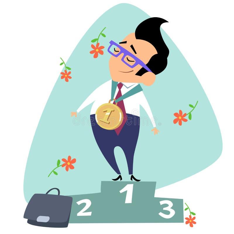 Biznesmena zwycięzca w pierwszy miejsce triumfu tematu biznesowym sp ilustracji