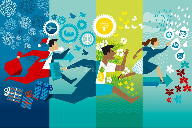 Biznesmeni biega całego roku koloru płaską wektorową ilustrację ilustracji
