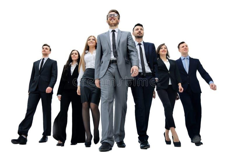 Biznesmeni grupują odprowadzenie Odizolowywający na bielu obrazy stock