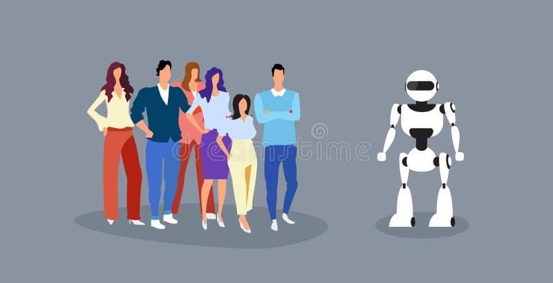 Biznesmeni grupują pozycję z robot sztucznej inteligencji pojęcia ludzie biznesu przy spotkaniem z humanoid nowożytnym royalty ilustracja