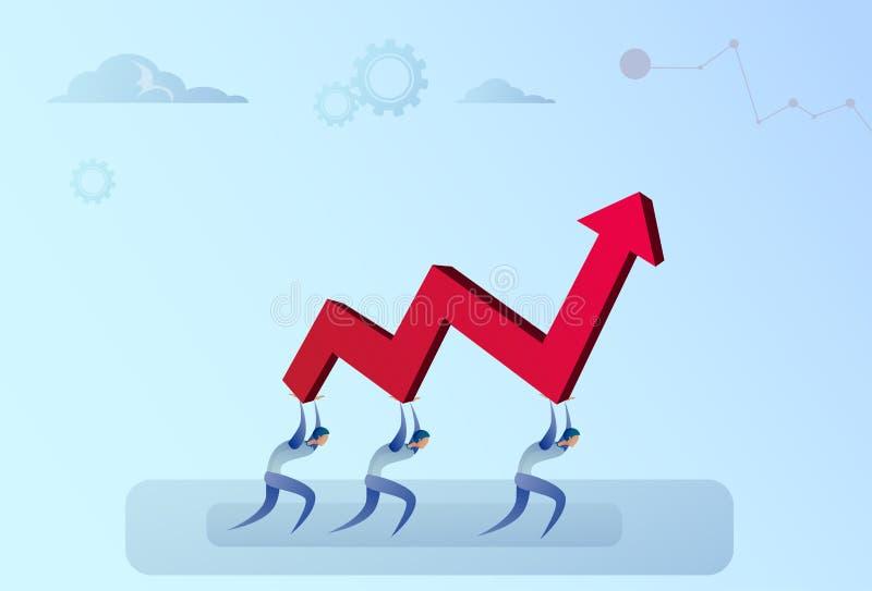 Biznesmeni Grupują Trzymać Pieniężną strzała W górę Pomyślnego biznes drużyny rozwoju przyrosta royalty ilustracja