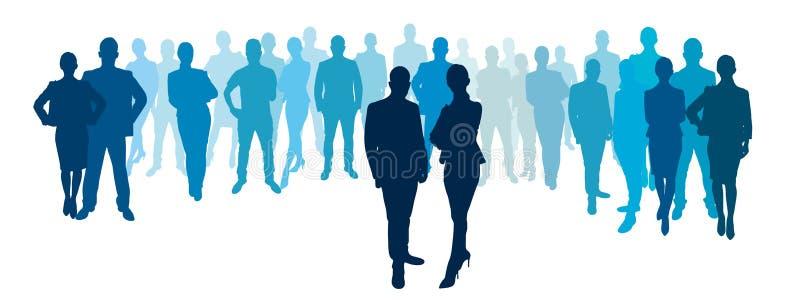 Biznesmeni i bizneswomany z biznes drużyną royalty ilustracja