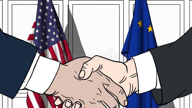 Biznesmeni lub politycy trząść ręki przeciw flaga usa i UE Spotkanie lub współpraca powiązana kreskówka ilustracja wektor