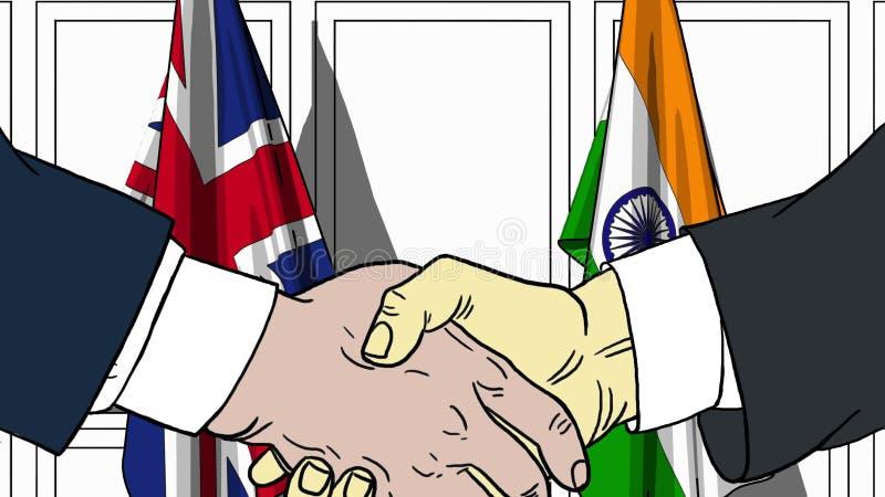Biznesmeni lub politycy trząść ręki przeciw flaga Wielki Brytania i India Spotkanie lub współpraca odnosić sie ilustracja wektor